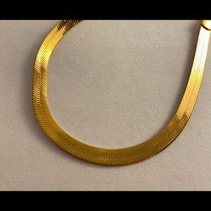 Gold Tone Herringbone Chain Bracelet